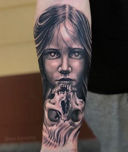 Oak Adams - Black and Gray Skull Tattoo with Portrait