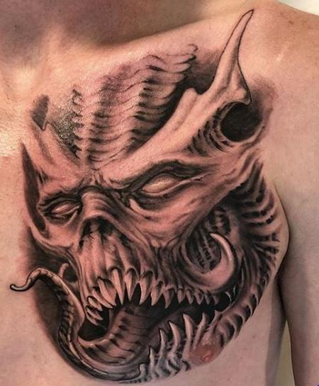 Tattoos - Black and Gray Monster Tattoo - 136112