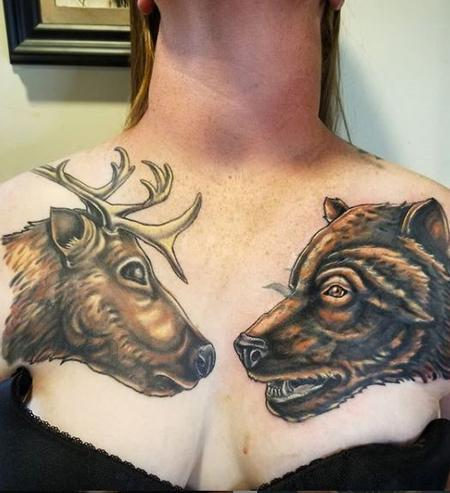 Tattoos - Cody Cook Elk & Bear - 140390