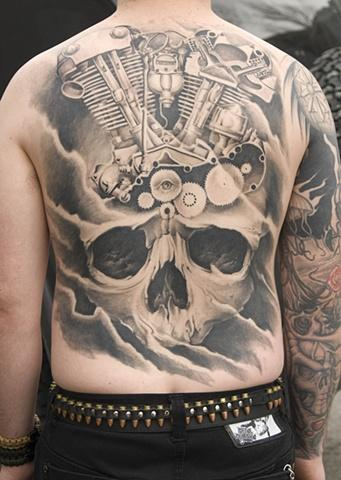 Tattoos - Black and Grey Skull and Motorcycle Engine Tattoo - 63544