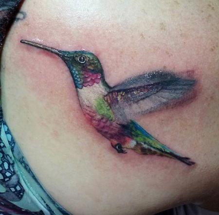 Tattoos - Realism color hummingbird tattoo - 137846