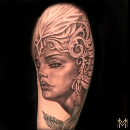 Tattoos - Black and Gray Woman Portrait Tattoo - 136130