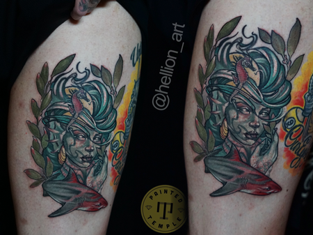 Tattoos - Al Perez Mermaid and Shark - 142198