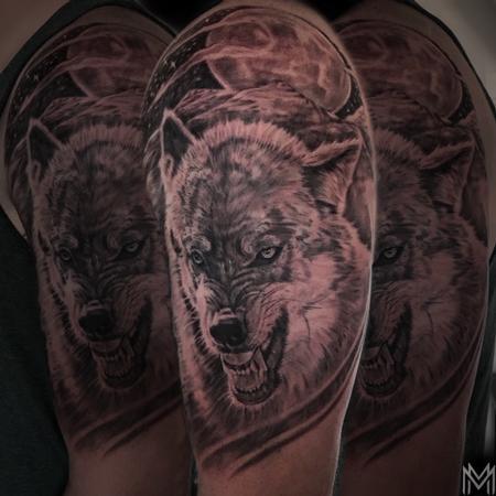 Matt Morrison - Black and Gray Wolf Tattoo