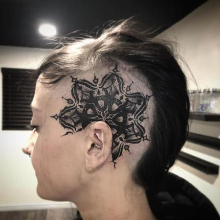 Tattoos - Dark Mandala Tattoo on Head - 137692