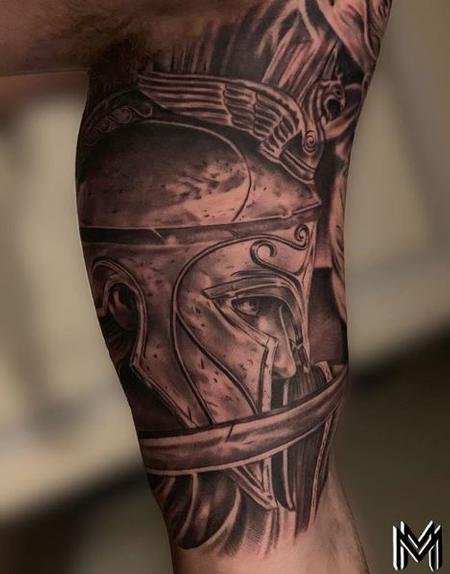 Tattoos - Matt Morrison Gladiator Head - 140828