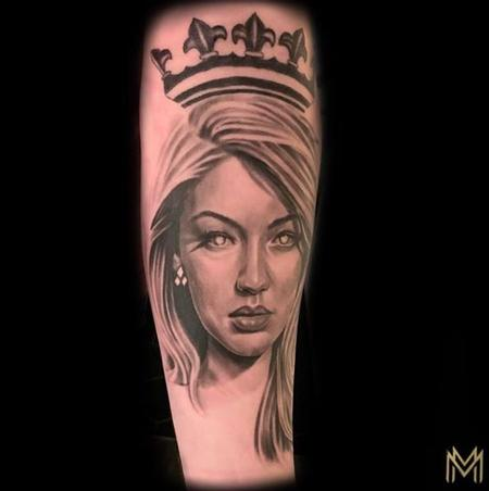 Matt Morrison - Black and Gray Woman Portrait Tattoo