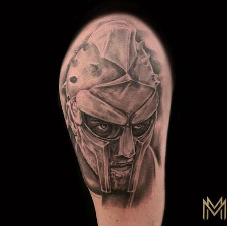 Tattoos - Black and Gray Gladiator Portrait Tattoo - 137419