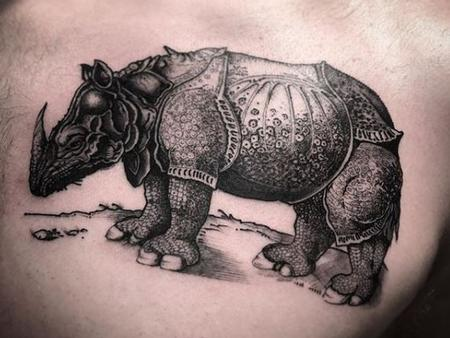 Tattoos - Black and Gray Rhinoceros Tattoo  - 137694