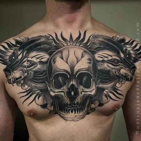 Tattoos - Dark Neo Traditional Black and Grey Skull with Wolves Chest Piece Tattoo - 137822
