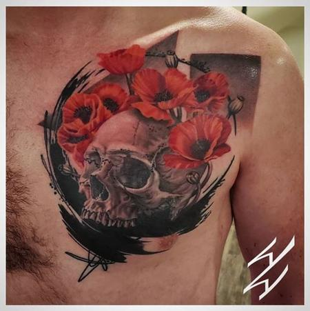 Tattoos - Walt Watts Abstract Skull and Flowers - 141062