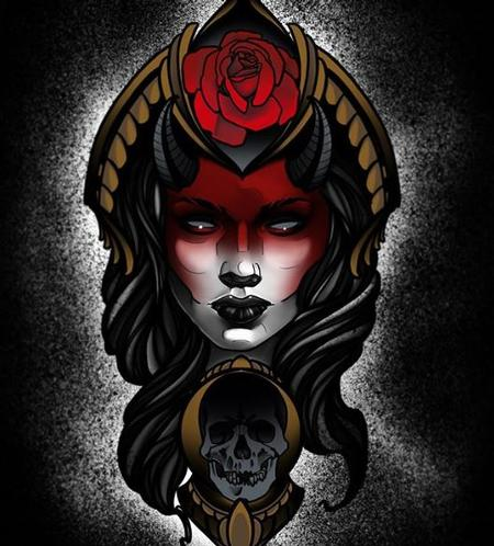 Tattoos - Al Perez Woman Rose & Skull II - 140536