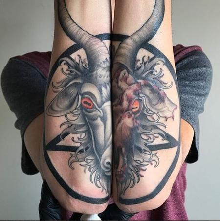 Zane Collins - Pentagram with Goat Head Tattoo