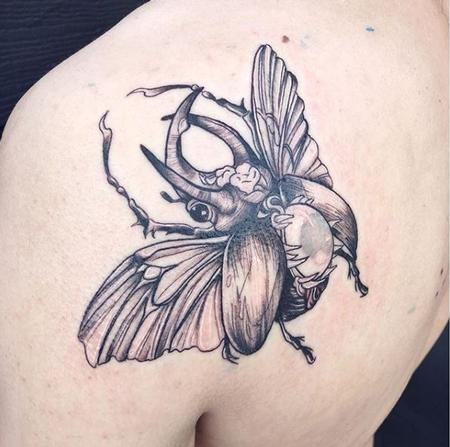 Tattoos - Black and Gray Beatle Tattoo - 137421