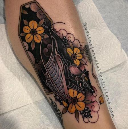 Tattoos - Dark Neo Traditional Bat and Coffin with Flowers Tattoo - 137410