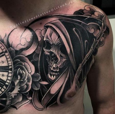 Tattoos - Dark Neo Traditional Reaper Tattoo - 137415