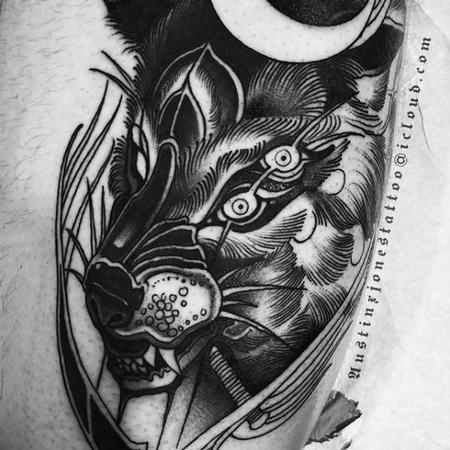 Tattoos - Black and Gray Wolf with 4 eyes Tattoo - 137409