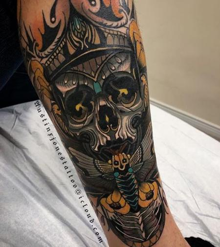 Tattoos - Neo Traditional King Skull with Moth and Flowers Tattoo - 137411