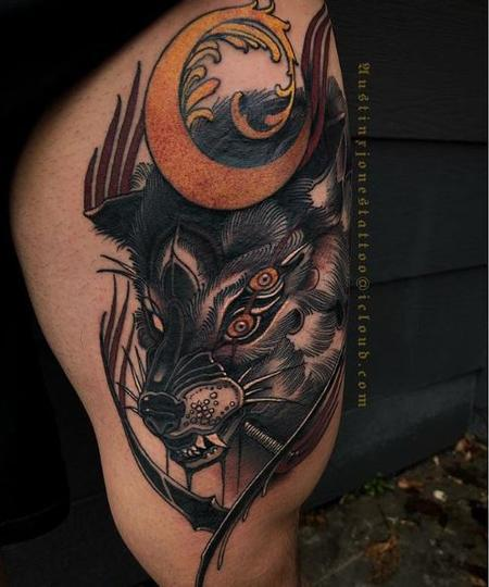 Austin Jones - Four Eyed Dark Neo Traditional Wolf Tattoo