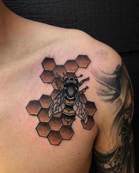 Megyn Olivia - Bee and Honeycomb Tattoo
