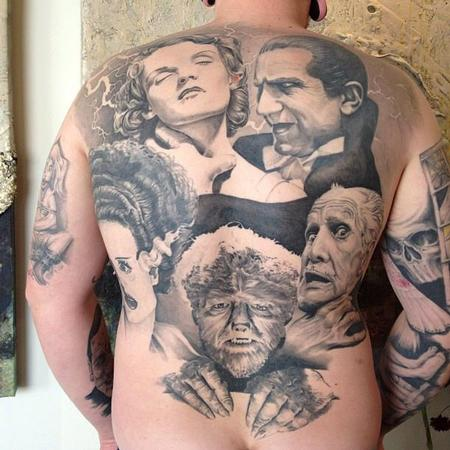 Oak Adams - Classic Horror Movie Portraits Backpiece Tattoo