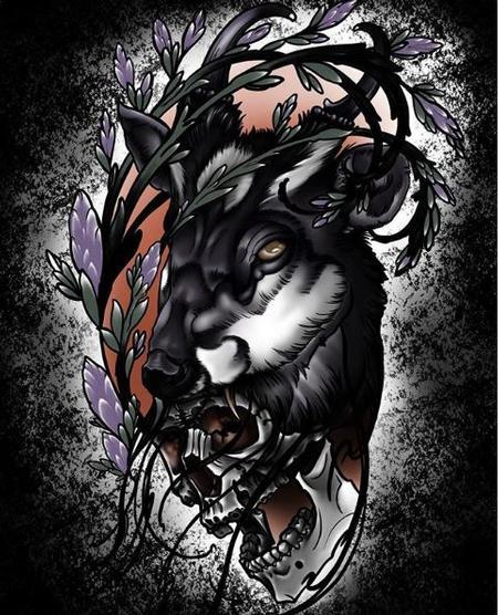 Tattoos - Dark deer and skull - 138254