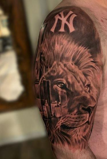 Tattoos - black and grey Lion - 138071
