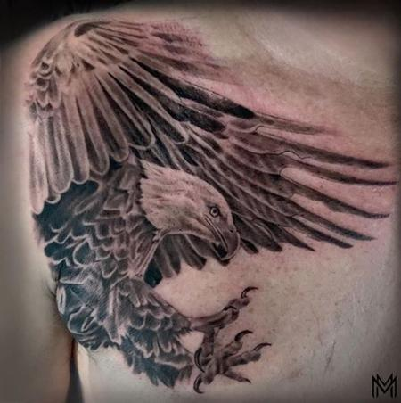 Tattoos - Black and Gray Eagle Chest Tattoo  - 136129