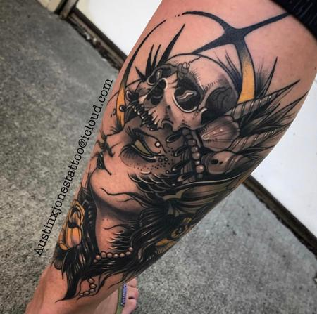 Tattoos - Warrior Woman with Skull Headdress Tattoo - 134662