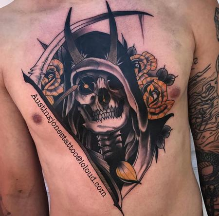 Tattoos - Reaper and Roses Chest Tattoo - 134659