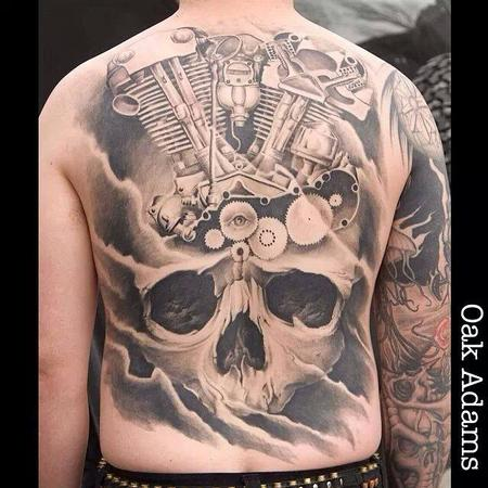 Tattoos - Skull and Motorcycle Motor Back Tattoo - 134551