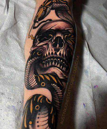 Austin Jones - Skull and Snake Tattoo