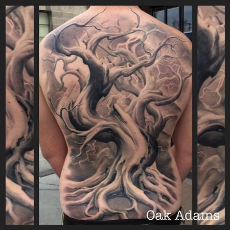 Oak Adams - Black and Gray Tree Backpiece Tattoo