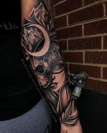 Tattoos - Woman with skul mask, mountains and moon dark neotraditional tattoo - 137901