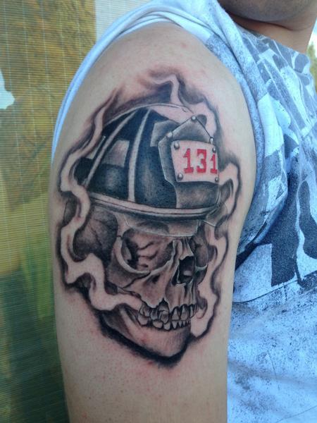 Tattoos - FIREMAN SKULL  - 100323