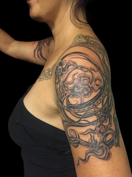 Decorative Shoulder Piece Tattoo Design