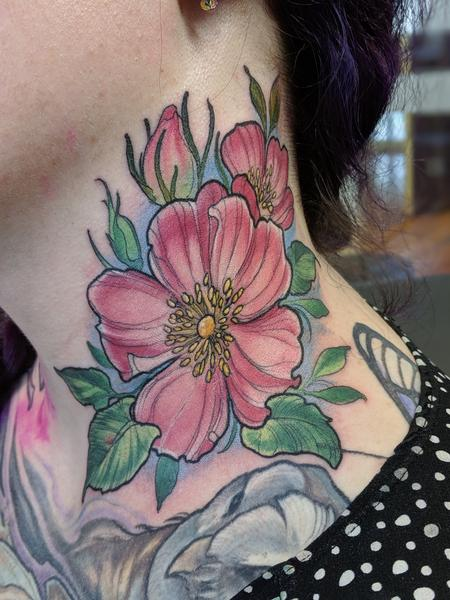 Color neck flower tattoo Tattoo Design
