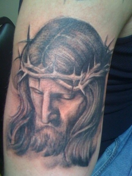 Black and Gray Jesus Tattoo Tattoo Design