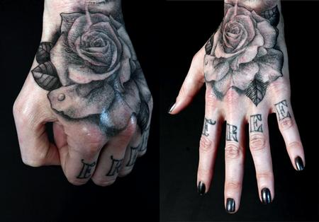 Tattoos - rose on hand - 58617