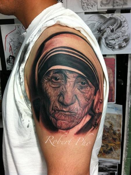 Mother Tersea portrait Tattoo Design