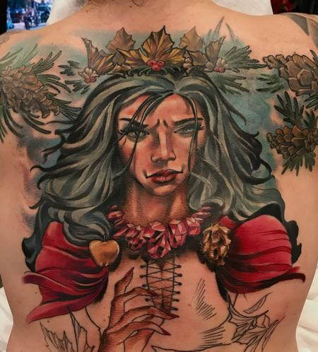 Tattoos - Damon Conklin Woman with Holly crown - 131246