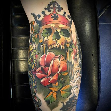 Tattoos - Rose with Skull and Crown Tattoo - 141400