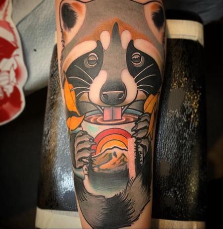 Coffee sipping Panda tattoo Tattoo Design