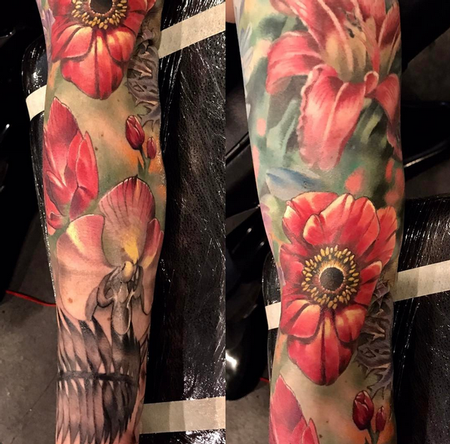 Tattoos - Flowers and Skull - 140912