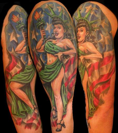 betty page pinup half sleeve Tattoo Design