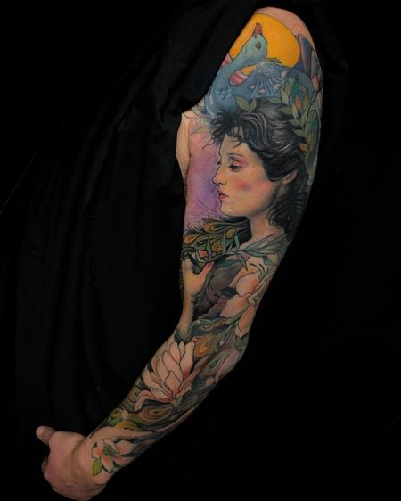 Aimee Cornwell - Color Peacock and Woman Sleeve Tattoo