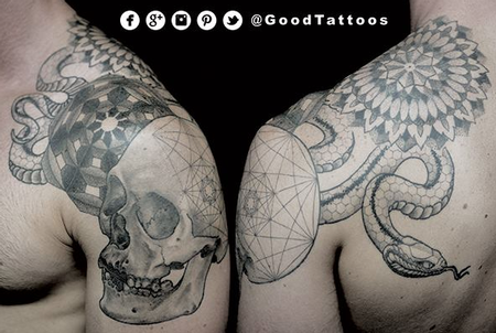 Geometric Pattern Skull and Snake Tattoo Design
