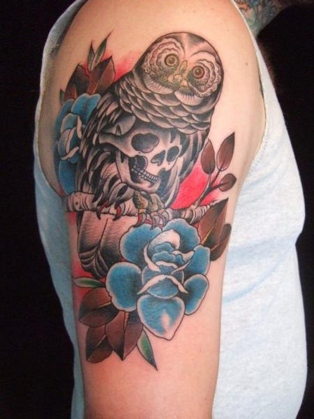 Traditional Owl and Flowers Tattoo Tattoo Design