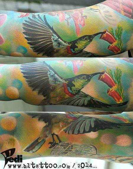 Humming Bird Half Sleeve Tattoo Design