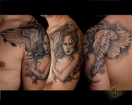 Black and Gray Angel Tattoo Tattoo Design